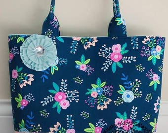 Floral Summer Handbag, Custom, Ready to Ship, Bag, Purse, Tote, Custom Made, Free Shipping