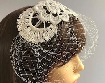 Ivory Birdcage Veil, Wedding Bridal, Vintage Lace, Bridal Headpiece, Off White Birdcage Veil, Ivory Bride Fascinator, Handmade Sweep Veil