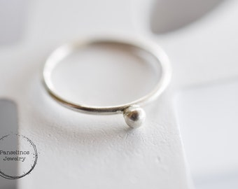 1.2 mm Sterling silver ball ring, stackable ring. silver ring, gift for her