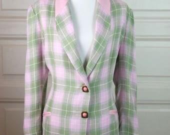 Spanish Vintage Blazer Women's, Pink Green Plaid Linen Jacket, Linen Blazer w Beautiful Buttons, 1980s Power Blazer: Size 14 US, 18 UK
