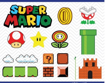 Mario Scene Set (SVG, EPS, PNG, dfx) Cut Files for use with Silhouette, Cricut, & other Cutting Machines