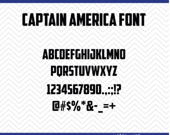 Captain America Font (SVG, EPS, PNG, dfx) Cut Files for use with Silhouette, Cricut, & other Cutting Machines