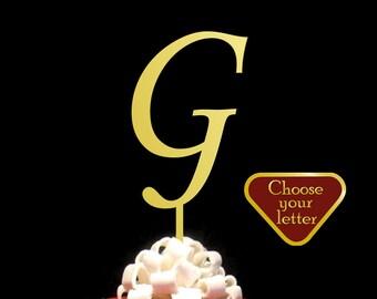 Letter G Cake Topper, Gold G Cake Topper, Cake Topper Initial, Monogram Cake Topper, Cake Topper Wedding, Single Letter Cake Topper, CT#041