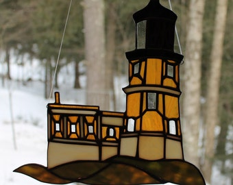 Stained Glass Replica of the Split Rock Lighthouse Lake Superior Northshore