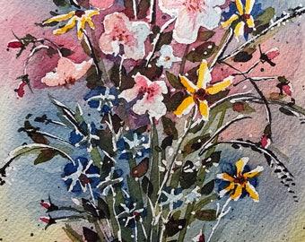 Bright Flowers (Original Watercolor Painting)