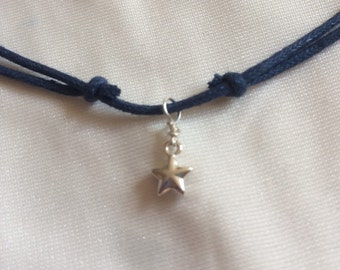 Tiny sterling silver star choker necklace, customizable cord colour, adjustable