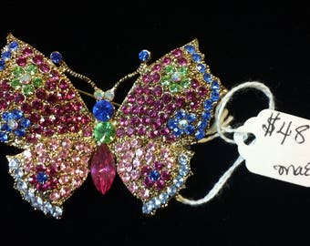 Vintage Jewelry - Multicolored Pastel Butterfly Brooch