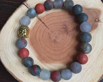 Buddha African Red Jasper & Carnelian Crystal Healing Bracelet