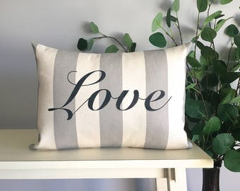 Love Pillow, Decorative Pillow, Rustic Home Decor, Accent Pillow