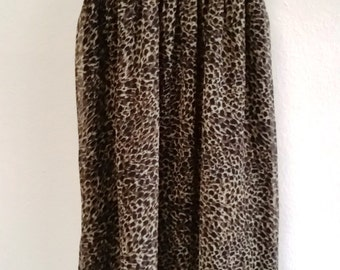 Gorgeous Sheer, Fully Lined Leopard Georgette Long Dress -  Small