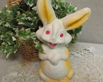 1940's-1950's Vintage Paper Mache Easter Bunny Rabbit Orange Smiling Figure