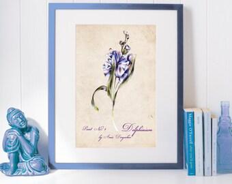 Vintage flower, Vintage poster, Delphinium print, Flower art, Home decor, Flower decor, Romantic decor, Wall flower decor, Nature art
