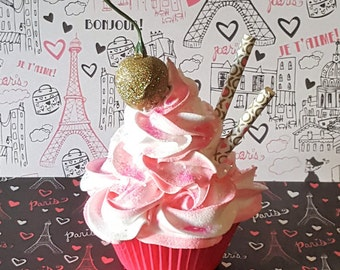 Rosette Fake Cupcake, Gold Cherry, XOXO Straws, Hot Pink Liner, Photo Props, Kitchen Cupcake Decor, Ready to Ship