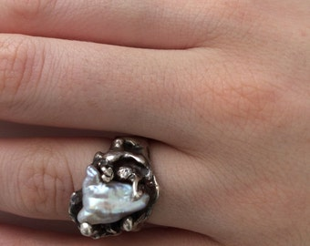 Sterling silver and Baroque Pearl hand made ring