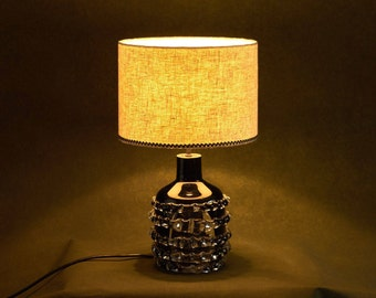 Gothic lamp etsy black and grey linen lampshade with glass gothic table lamp base with linen lampshade base only aloadofball Images