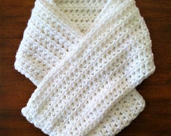 Long Crochet Infinity Scarf, Handmade White Cowl, Winter Scarf