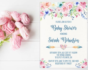 Baby Shower Printable Invitation Spring Floral Baby Shower Invite Printable Pastel Baby Shower Invite Watercolor Floral Invite Pink And Blue