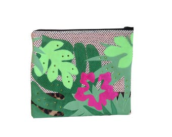 one123one Handmade Floral Applique clutch.