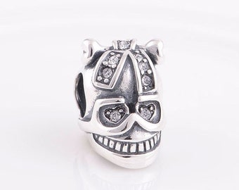Authentic Sterling silver charm Skull beads perfect fit for pandora and troll or european bracelets