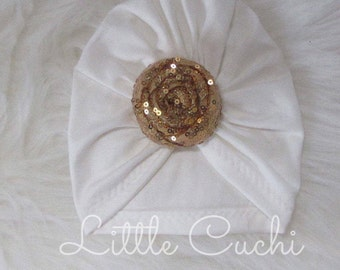 Ivory Turban Hat with Sequin Knot
