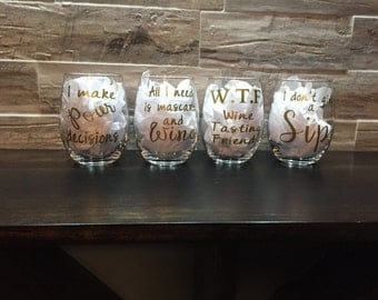 Set of 4 Stemless Wine glasses with funny sayings