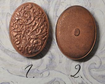 Vintage French Locket Findings Ornate Raw Brass Stamping 2 Pieces 147 - 48J