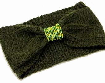 Vintage Knitted Turban Headband Green Beaded Ear warmer Wool Headband Knit Earmuffs Yellow Beads Headwear Turban Winter Hairband knitted