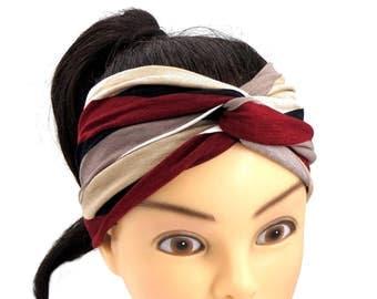 Striped Turban Headband Jersey Headband Beige Bordeaux Workout Headband Stretch Twist Headband Yoga Headwrap Streipes Knot Headband Sport