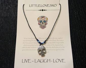Sugar skull necklace • Adjustable necklace • Skull Jewellery • Day of the Dead •  Sugar skull jewellery • Gothic necklace • Skull gifts