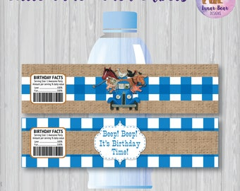 Little Blue Truck Water Bottle Labels, Printable Water Labels, Little Blue Truck Party, Little Blue Truck Birthday Party, Party Decoration