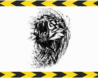 Tiger SVG Printable wall art Car decal stickers Clipart Vector DXF PDF Png files