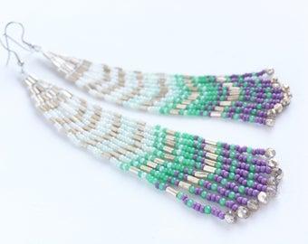 Mint + Lavender Shoulder Duster Earrings