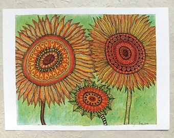 Digital printing, 3 sunflowers, DinA 4