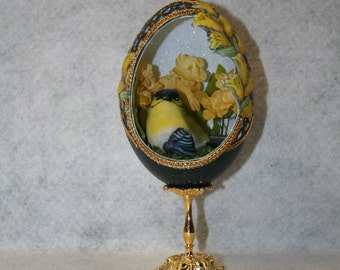 Decorated Emu Egg Inspired in The Faberge' Style. With a Blue and Yellow Bird Sitting Amongst Yellow Flowers