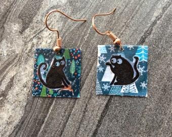 Cat earrings, square earrings, funky earrings
