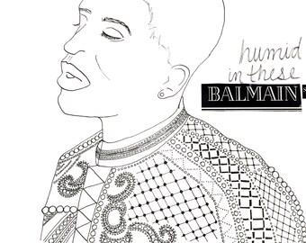 Frank Ocean x Balmain Nikes Music Video Illustration