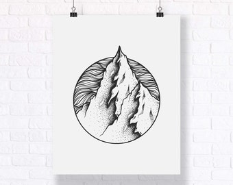 The Mountains. Hand Drawn Black and White Abstract Illustration.
