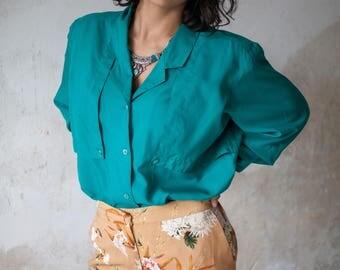 Vintage 80s Green Silk Shirt