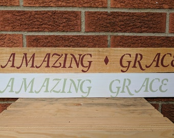Amazing Grace Sign // Bible Verse Sign // Hand Painted // Wood Sign // Inspirational // Wall Art // Amazing Grace Wall Decor