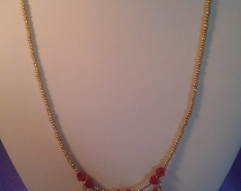 Simply pretty necklace red and gold women