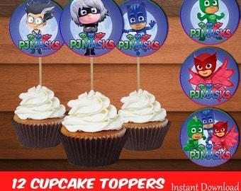 PJ Masks Cupcake Toppers-Printables Pj Mask Toppers-Pj Mask Favors-Digital Pj Mask Cupcake Toppers-Pj Mask Party Decoration-DIGITAL DOWNLOAD