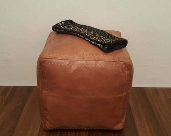 Set of 2 Authentic Moroccan Leather  Poufs,Handcrafted Leather Pouffes ottoman ,Footstool,P75