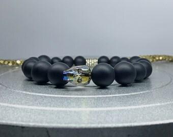 Crystal Skull Bracelet. Swarovski Crystal Skull Iridescent Green / Matte Black Onyx Yoga Mala Beaded Bracelet. Healing Natural Gemstone Mala