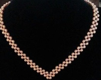 Pink glass Pearl Necklace