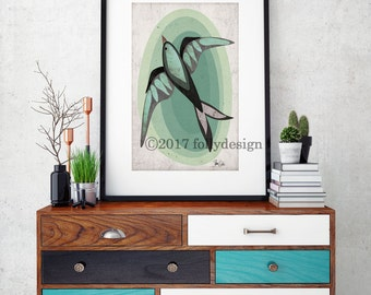 Black Bird art print. Mid-century Modern Design. Black Bird wall decor. Black Bird poster. Retro Black Bird home decor. Follydesign print