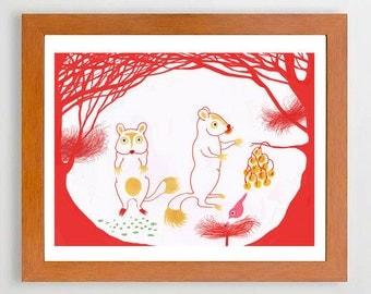 21- #Decor#Home, #Artroom, #Illustration, #Red, #Trees, #Animal, #Bird,#Artprint  #Europeanstreetteam