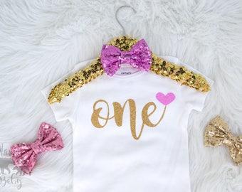 Baby Girl's First Birthday Onesie, ONE onesie, One Birthday shirt, One Birthday Bodysuit, First Birthday Outfit, Gold One Birthday Onesie