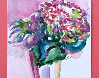 Original Wastercolor of a Hydrangea Bouquet