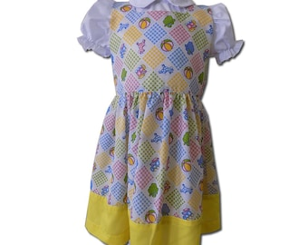 FINAL SALE White and Yellow Vintage two piece dress, Size 3T.  PN-004