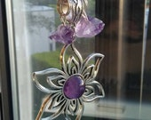 Reserved Custom Order for Michelle, Genuine Raw Amethyst chunks with Sterling Silver Plated Flower and Amethyst Cabochon Pendant